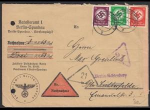 3.Reich Dienst Orts-Nachnahme MEF 3-farbig 1937 Mi.134,135,139 Spandau (21681