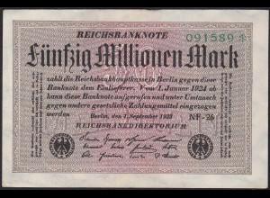 Reichsbanknote - 50 Millionen Mark 1923 Ro 108k XF (2) FZ: NF 6er Stern (13316