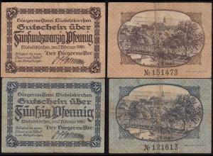 Wiebelskirchen Bürgermeisterei 25 + 50 Pfennig 1920 Gutschein/Notgeld (14729