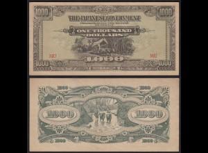MALAYA MALAYSIA JAPANESE GOVERNMENT 1000 Dollar ND (1945) VF/XF (3/2) (21212
