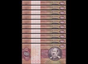 Brasilien - Brazil 10 Stück á 100 Cr. Banknote (1981) Pick 195 Ab XF Sig.20