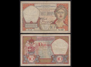 JUGOSLAWIEN - YUGOSLAVIA - 10 Dinara Banknote 1926 Pick 25 F (4) RAR (21250