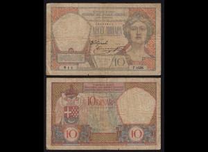 JUGOSLAWIEN - YUGOSLAVIA - 10 Dinara Banknote 1926 Pick 25 VG (5) (21251