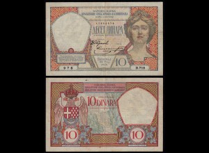 JUGOSLAWIEN - YUGOSLAVIA - 10 Dinara Banknote 1926 Pick 25 VF (3) RAR (21252