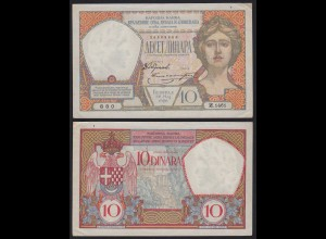 JUGOSLAWIEN - YUGOSLAVIA - 10 Dinara Banknote 1926 Pick 25 fast XF (2-) RAR