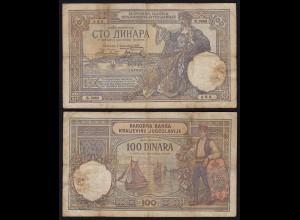 JUGOSLAWIEN - YUGOSLAVIA - 100 Dinara Banknote 1929 Pick 27b VG (5) (21255