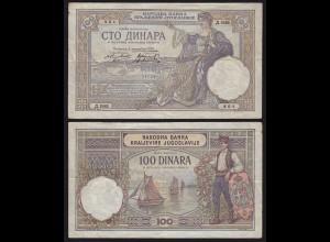 JUGOSLAWIEN - YUGOSLAVIA - 100 Dinara Banknote 1929 Pick 27b fast VF (3) (21256