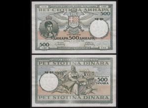 JUGOSLAWIEN - YUGOSLAVIA - 500 Dinara 1935 Pick 32 VF/XF (3/2) (21260