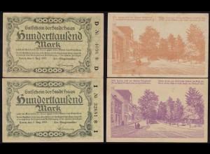 Rheinland - Haan 100 tausend Mark 1923 Notgeld schönes Vaterland 2 Farben (15376