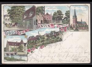 AK Litho Gruss aus Senden bei Münster 1899 Palz Brennerei Hotel Fels (17117