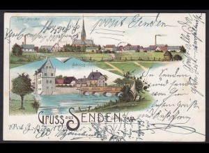 AK Litho Senden Gesammtansicht + Schloss-Senden 1902 nach Recklinghausen (17375
