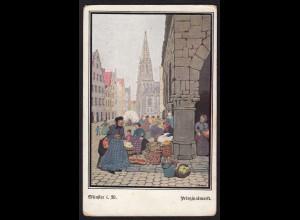 AK Münster Westfalen Kunstkarte Prinzipalmarkt signiert Sydow (16854