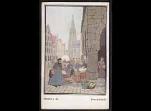 AK Münster Westfalen Kunstkarte Prinzipalmarkt signiert Sydow (16847