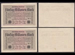 50 Millionen Mark 1923 Ro 108h Paar VF+ (3+) FZ BK-17 laufende Nummer (27280