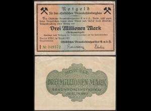 Ostelbischen Braunkohlenbergbau 3-Millionen Mark 1923 Notgeld Reichspapiergeld