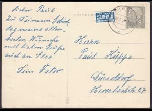 8 Pfg. Heuss Einzelfrankatur Mi. 182 auf AK Ortskarte 1955 Geburtstag (23544