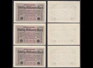 3er Set 50 Millionen Mark 1923 Ro 108h XF (3) FZ DB-20 laufende Nummer (27271