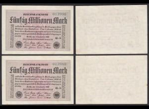 50 Millionen Mark 1923 Ro 108h Paar VF+ (3+) FZ BK-20 laufende Nummer (27270