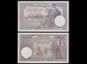 JUGOSLAWIEN - YUGOSLAVIA - 100 Dinara Banknote 1929 Pick 27b aUNC (1-) (21257