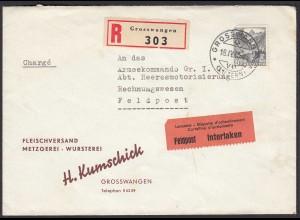 Schweiz 1945 R-Brief FELDPOST aus GRSSWANGEN an Armeekommando Gr. I. (23753