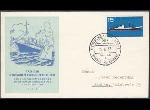BRD Bund 1957 Mi. 257 FDC Tag der Seeschiffahrt (23518