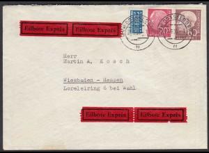 BRD BUND MIF Heuss 20 + 60 Pfg. Eilbrief Düsseldorf-Wiesbaden mit Notopfer 1955