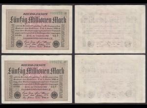2 Stück á 50 Millionen Mark 1923 Ro 108e FZ YZ-7 Star 5er im Paar (27268