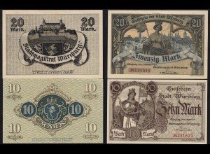 Bayern - Stadt Würzburg 10 + 20 Mark 1918 Gutschein Notgeld (14859