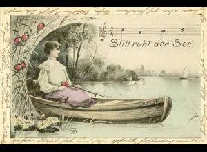 AK Jugendstil 1905 Amor Still ruht der See (1460