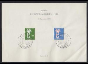 Bund BRD Ersttagsblatt 295-96 CEPT Europamarken 1958 (17597