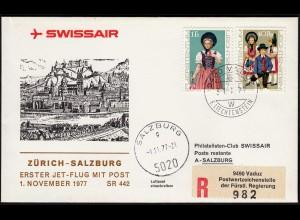Liechtenstein Swissair Erstflug 1977 Zürich-Salzburg SR 442 (23285