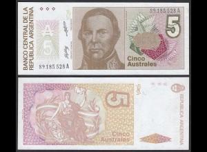 Argentinien - Argentina 5 Australes aUNC (1-) 1986 Pick 324b (19773