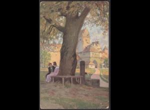 AK Kunstkarte Paul Hey 1916 Volksliederkarte Am Brunnen vor dem Tore (26685