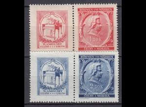 Germany - Bohemia Moravia 150 Death anniversary Mozart Mi.81/2 MNH w.Tab (19576