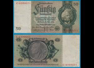 REICHSBANKNOTE 50 Reichsmark 1933 Ro 175a Pick 182 VF Serie H/C (18574