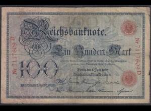 Reichsbanknote 100 Mark 1907 Ro.30 - Pick 30 Serie D UDR X gebraucht (27308
