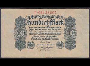 Reichsbanknote 100 Mark 1922 Ro.72 - Pick 75 VF (3) Serie F (27309