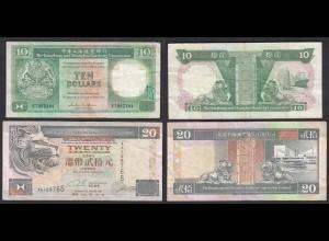 Hongkong - 10 Dollar 1986 + 20 Dollar 1993 VF (3) Pick 191 + 201 (27287