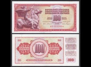 Jugoslawien - Yugoslavia 100 Dinara 1965 UNC Pick 80c mit Sicherheitstreifen