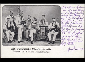 AK 1905 Rumänische Musik Künstler-Kapelle M.Vladescu Pansflötenkönig (27328