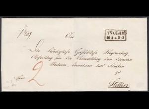 ANCLAM K2 Umschlag um 1850 nach STETTIN Taxiert (27343
