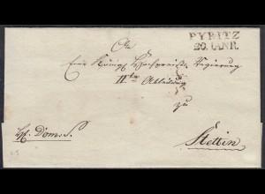 PYRITZ L2 ca. 1817 (Pyrzyce) Umschlag nach STETTIN (27346