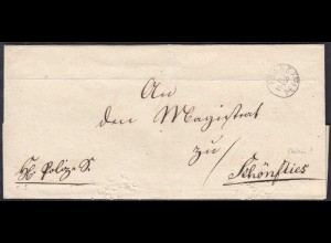 FRANKFURT A/O ca. 1930 K1 ca. 18mm Umschlag nach SCHÖNFLIES (27347