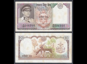 Nepal - 10 Rupees Banknote (1974) Pick 24a sig.10 XF (2) (27365