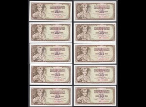 JUGOSLAWIEN - YUGOSLAVIA 10 Stück á 10 Dinara 1968 Pick 82c UNC (1) (89141