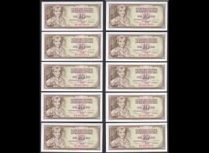 JUGOSLAWIEN - YUGOSLAVIA 10 Stück á 10 Dinara 1978 Pick 87a UNC (1) (89142