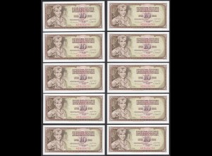 JUGOSLAWIEN - YUGOSLAVIA 10 Stück á 10 Dinara 1981 Pick 87b UNC (1) (89143