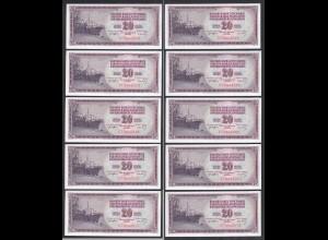JUGOSLAWIEN - YUGOSLAVIA 10 Stück á 20 Dinara 1974 Pick 85 UNC (1) (89144