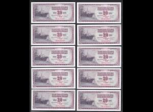 JUGOSLAWIEN - YUGOSLAVIA 10 Stück á 20 Dinara 1978 Pick 88a UNC (1) (89145