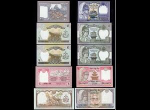 Nepal - 5 Stück verschiedene Banknoten bzw. Signaturen UNC (1) (14366